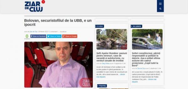 Bolovan, securistofilul de la UBB, e un ipocrit
