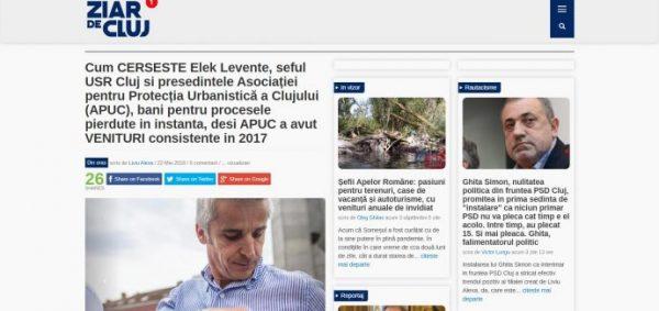 Cum CERSESTE Elek Levente, seful USR Cluj si presedintele Asociației pentru Protecția Urbanistică a Clujului (APUC), bani pentru procesele pierdute in instanta, desi APUC a avut VENITURI consistente in 2017